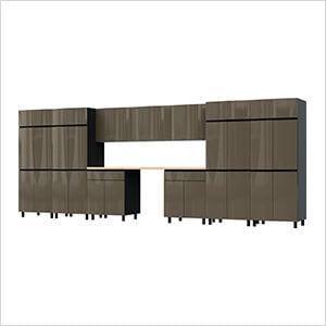 17.5' Premium Terra Grey Garage Cabinet System with Butcher Block Tops