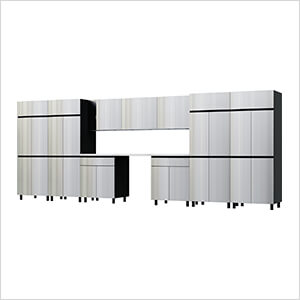 17.5' Premium Stainless Steel Garage Cabinet System with Stainless Steel Tops