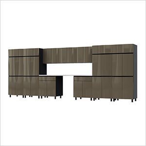 17.5' Premium Terra Grey Garage Cabinet System with Stainless Steel Tops