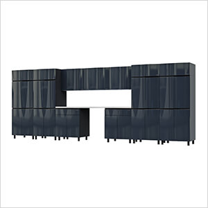17.5' Premium Karbon Black Garage Cabinet System with Stainless Steel Tops