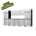 Contur Cabinet 12.5' Premium Stainless Steel Garage Cabinet System with Butcher Block Tops