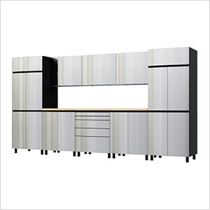12.5' Premium Stainless Steel Garage Cabinet System with Butcher Block Tops