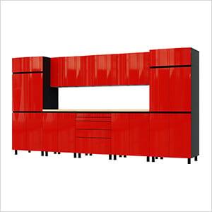 12.5' Premium Cayenne Red Garage Cabinet System with Butcher Block Tops