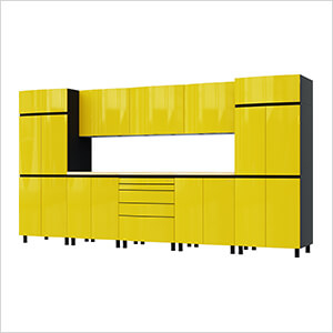 12.5' Premium Vespa Yellow Garage Cabinet System with Butcher Block Tops