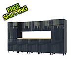 Contur Cabinet 12.5' Premium Karbon Black Garage Cabinet System with Butcher Block Tops