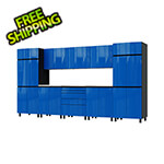 Contur Cabinet 12.5' Premium Santorini Blue Garage Cabinet System with Stainless Steel Tops