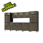 Contur Cabinet 12.5' Premium Terra Grey Garage Cabinet System with Stainless Steel Tops