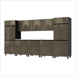 12.5' Premium Terra Grey Garage Cabinet System with Stainless Steel Tops