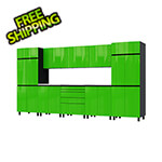 Contur Cabinet 12.5' Premium Lime Green Garage Cabinet System with Stainless Steel Tops