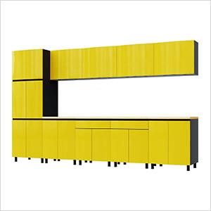 12.5' Premium Vespa Yellow Garage Cabinet System with Butcher Block Tops