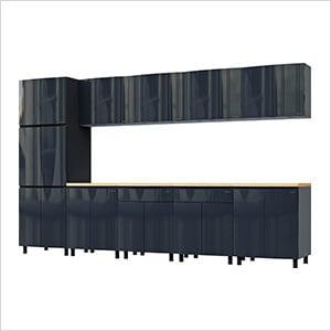 12.5' Premium Karbon Black Garage Cabinet System with Butcher Block Tops