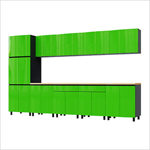 12.5' Premium Lime Green Garage Cabinet System with Butcher Block Tops