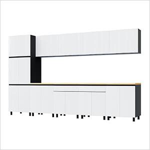 12.5' Premium Alpine White Garage Cabinet System with Butcher Block Tops