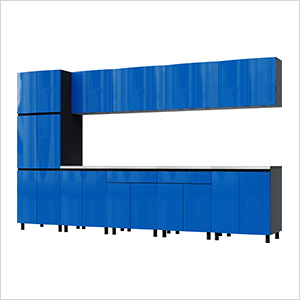 12.5' Premium Santorini Blue Garage Cabinet System with Stainless Steel Tops