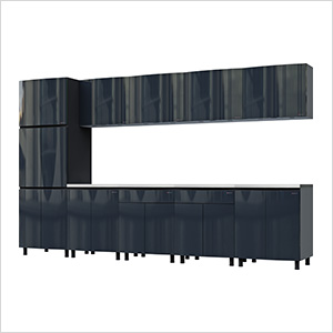 12.5' Premium Karbon Black Garage Cabinet System with Stainless Steel Tops