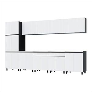 12.5' Premium Alpine White Garage Cabinet System with Stainless Steel Tops