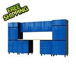 Contur Cabinet 12.5' Premium Santorini Blue Garage Cabinet System with Butcher Block Tops