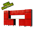 Contur Cabinet 12.5' Premium Cayenne Red Garage Cabinet System with Butcher Block Tops