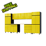 Contur Cabinet 12.5' Premium Vespa Yellow Garage Cabinet System with Butcher Block Tops