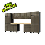 Contur Cabinet 12.5' Premium Terra Grey Garage Cabinet System with Butcher Block Tops