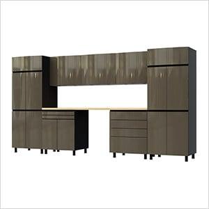 12.5' Premium Terra Grey Garage Cabinet System with Butcher Block Tops