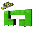 Contur Cabinet 12.5' Premium Lime Green Garage Cabinet System with Butcher Block Tops