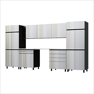 12.5' Premium Stainless Steel Garage Cabinet System with Stainless Steel Tops