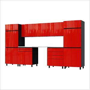 12.5' Premium Cayenne Red Garage Cabinet System with Stainless Steel Tops