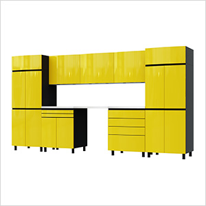 12.5' Premium Vespa Yellow Garage Cabinet System with Stainless Steel Tops