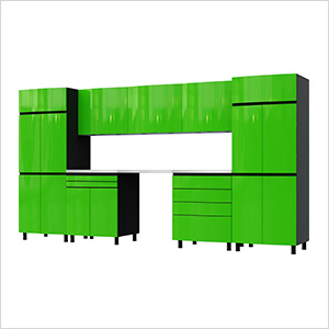 12.5' Premium Lime Green Garage Cabinet System with Stainless Steel Tops