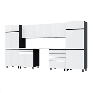 12.5' Premium Alpine White Garage Cabinet System with Stainless Steel Tops