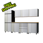 Contur Cabinet 10' Premium Stainless Steel Garage Cabinet System with Butcher Block Tops