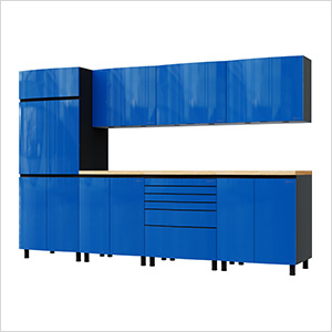 10' Premium Santorini Blue Garage Cabinet System with Butcher Block Tops
