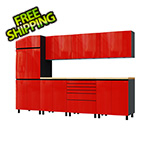Contur Cabinet 10' Premium Cayenne Red Garage Cabinet System with Butcher Block Tops