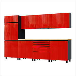10' Premium Cayenne Red Garage Cabinet System with Butcher Block Tops