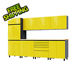 Contur Cabinet 10' Premium Vespa Yellow Garage Cabinet System with Butcher Block Tops