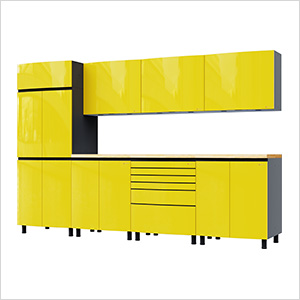 10' Premium Vespa Yellow Garage Cabinet System with Butcher Block Tops