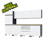 Contur Cabinet 10' Premium Alpine White Garage Cabinet System with Butcher Block Tops