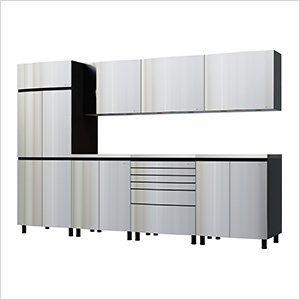 10' Premium Stainless Steel Garage Cabinet System with Stainless Steel Tops