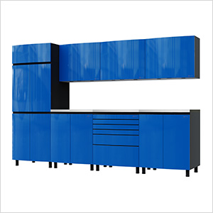 10' Premium Santorini Blue Garage Cabinet System with Stainless Steel Tops
