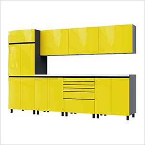 10' Premium Vespa Yellow Garage Cabinet System with Stainless Steel Tops