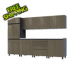 Contur Cabinet 10' Premium Terra Grey Garage Cabinet System with Stainless Steel Tops