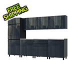 Contur Cabinet 10' Premium Karbon Black Garage Cabinet System with Stainless Steel Tops