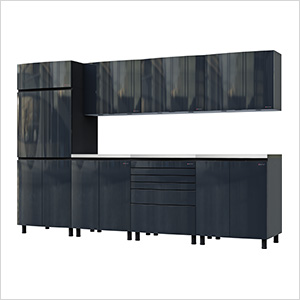 10' Premium Karbon Black Garage Cabinet System with Stainless Steel Tops