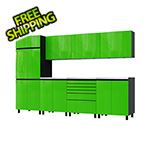 Contur Cabinet 10' Premium Lime Green Garage Cabinet System with Stainless Steel Tops