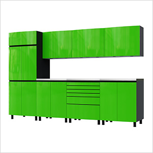 10' Premium Lime Green Garage Cabinet System with Stainless Steel Tops
