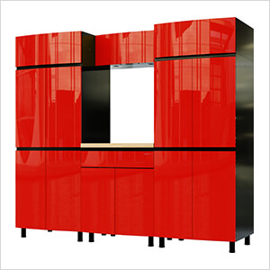 7.5' Premium Cayenne Red Garage Cabinet System with Butcher Block Tops