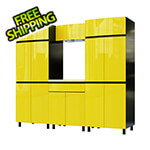 Contur Cabinet 7.5' Premium Vespa Yellow Garage Cabinet System with Butcher Block Tops