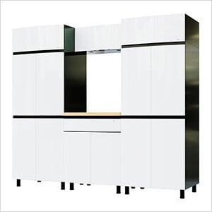 7.5' Premium Alpine White Garage Cabinet System with Butcher Block Tops
