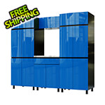 Contur Cabinet 7.5' Premium Santorini Blue Garage Cabinet System with Stainless Steel Tops